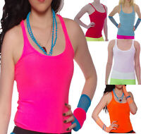 NEON TUTU STRAPPY SLEEVELESS VEST TOP 80'S FANCY DRESS PARTY ALTERNATIVE