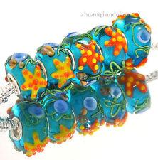 5pcs MURANO Lampwork charm Beads fit 925 silver European Bracelet Chain a562