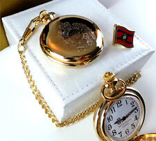 ROYAL ENGINEERS Pocket Watch and Lapel Pin Badge Crest 24k Gold Luxury Gift Set