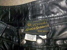 Vtg 60s-70's Brooks Buco Detroit Black Steerhide Leather Motorcycle Pants 34 Usa