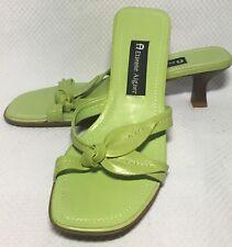 """Shoes ETIENNE AIGNER 2.5"""" Kitten Heels GREEN LEATHER Slide Sandals Open Toe 7"""