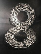2 Cambridge DIANE CLEAR Etched Crystal Saucers with Scalloped Rim