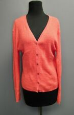 MARSHALL FIELDS Ribbed Beaded Pink Ramie Pink Button Up Sweater Sz M FF8008