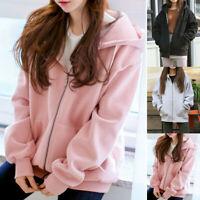 Women Long Sleeve Zip Hooded Sweatshirt Pockets Fleece Jacket Coat Outwear US
