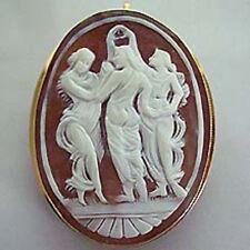 Ovaler Anhänger od. Brosche braune Camee Gold 585 Goldanhänger Goldbrosche