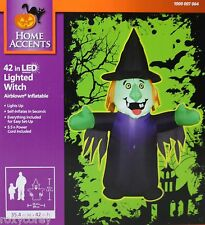 Halloween Home Accents 42 inch LED Lighted Witch Airblown Inflatable NIB