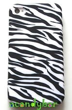 iPhone 4 4S Black White Zebra Soft Candy Skin Gel Rubber Cover Case Protector