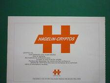 3/1977 PUB HAGELIN CRYPTOS ZOUG CRYPTOGRAPHIE CHIFFREMENT TEXTE SECRET FRENCH AD