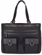 Authentic New Gucci GG Black Denim Abbey Pockets Tote #268639, NWT ($509)
