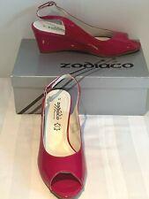 Zodiaco Pink Patent Wedge High Heel Dress Sandals Size EU41/UK8