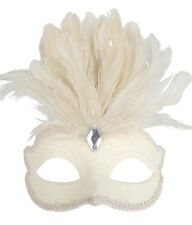 Cream Glitter Face Eye Mask with Feathers Fancy Dress Venetian Masquerade