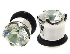 NEW PAIR OF 00g 10MM with CZ STEEL single flare PLUGS plug gem stone GAUGES