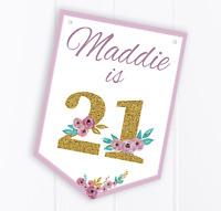 Personalised Birthday Bunting, Any Age, 21, 60, 40, etc, Party Decoration Banner