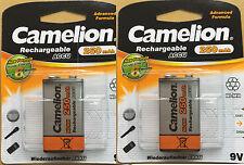 2x Camelion 9V Block Akku NiMH HR6F22 250 mAh LR61 9V E-Block Neu 6F22 6LR61