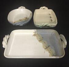 Set Of 3 Groveland Hill Studio Pottery Platters /casserole Dishes