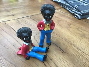 2 X Black Figures Toys 60s70s Vintage