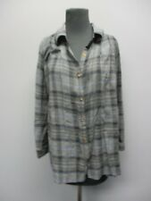 HOLDING HORSES Black Plaid Long Sleeves Button Front Casual Blouse Sz XS EE7402