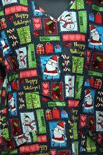 Nurse Vet Tech Dental Scrub V-neck Top Christmas-Santa-Snow Men Size L