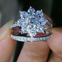 Fashion Women Jewelry 925 Silver White Sapphire Engagement Wedding Ring Set