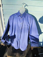 Mario Caldi Mens Shirt 46/18 1/2 All Cotton Solid Blue Long Sleeve French  NWOT