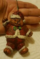 VINTAGE HARD PLASTIC BEAR WITH Santa Claus Hat & outfit CHRISTMAS TREE ORNAMENT
