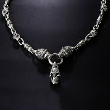 Heavy Real 925 Sterling Silver Necklace Pendant Skull Lion Head Chain 24""