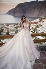White/Ivory Beautiful A Line Wedding Dresses Lace Appliques Bridal Gowns Train