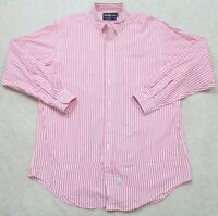 Ralph Lauren White Pink Long Sleeve Men's Man Striped Pocket Dress Shirt 1-87