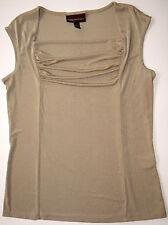 Dana Buchman Draped Top S Gold Shimmer Sleeveless Stretch Shirt Soft Drape Front