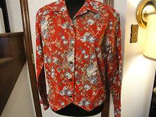 NWOT Liz Claiborne Red Floral Print Jacket Blouse    Size Medium