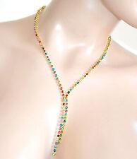 COLLANA girocollo donna oro dorata strass cristalli collier damigella colar F275