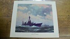 Lg Gordon Grant 1942 WWII Print Naval Ship Cruiser USS Chester, Northern Pump Co