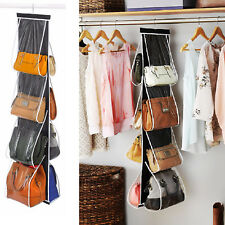 Handbag File Purse Organizer Rack 8 Pocket Closet Clear Display Shelf Storage