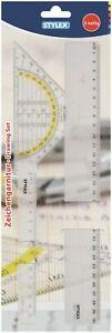 Zeichengarnitur 3-teilig Geodreieck 16 cm Lineal 15 + 30 cm Transparent 48737
