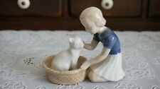 B&G Bing and Grondahl Figurine Girl With White Cat in Basket #2249, Denmark
