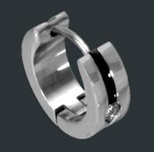 EDELSTAHL ***  Zirkonia  Herren Single-Ohrring Creole schwarze Streife 13,5 mm