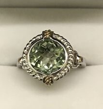 Sterling Silver and 18K Green Amethyst Ring NWOT