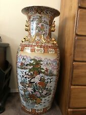 """Large Chinese Floor Vase Gold Gilt Floral and Birds 36""""H"""