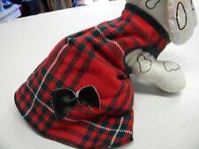 magnifique manteau chien couleur écossais rouge vert dos 30/35cm création toutou