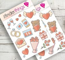 Love Valentine Stickers Scrapbook, Planners Hearts Flowers Lovers Teddy - Precut