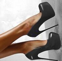 16cm Super High Heels Womens Pumps Round Toe Platform Stilettos Party Club Shoes