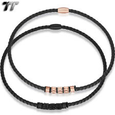 TT 6mm Black Leather Bead S.Steel Magnet Buckle Collar Necklace (CL25)2020 NEW