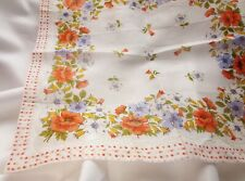 Vintage Colorful Burst of Florals Handkerchief Autumn Orange Polka Dot Border