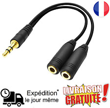 Câble Audio Noir Splitter Jack Mâle vers Double Jack Femelle 3.5mm (NEUF)
