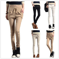 New Womens Drawstring Waist Casual Harem Skinny Fit Pants Trouser Size 6 8 10 12