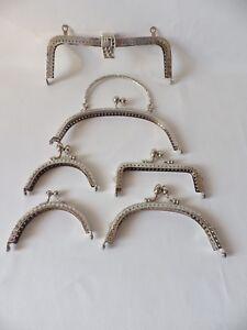 Silvertone Metal Frame Bag Purse Sew In / Glue In Frame : 6 designs