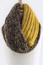 B48 Super Soft Mustard Yellow Purple Furry Chunky Sweater Yarn Infinity Scarf