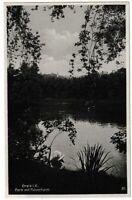 Ansichtskarte Greiz - Park mit Pulverturm - See mit Schwan - schwarz/weiß