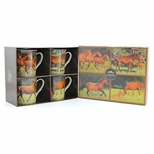 The Leonardo collection set of 4 fine china mugs , horses , in a gift box