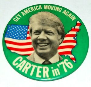 """1976 JIMMY CARTER 3.5"""" INCHES campaign pin pinback button political presidential"""